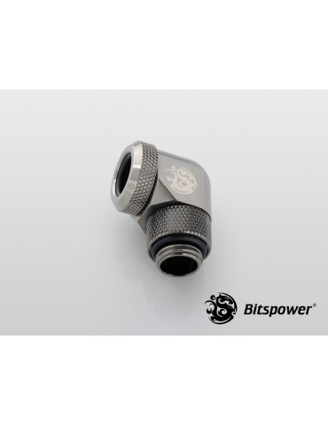 Bitspower Raccordo 1/4G - 90° per tubo rigido12mm OD - shiny black