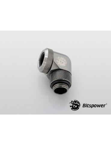 Bitspower Raccordo 1/4G - 90° per tubo rigido12mm OD - shiny black