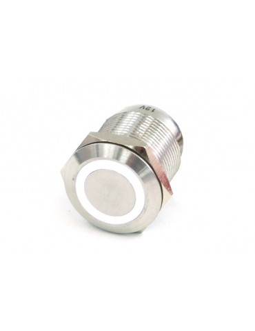 Phobya push-button vandalism-proof / bell push 19mm stainless steel, white ring lighting 6pin