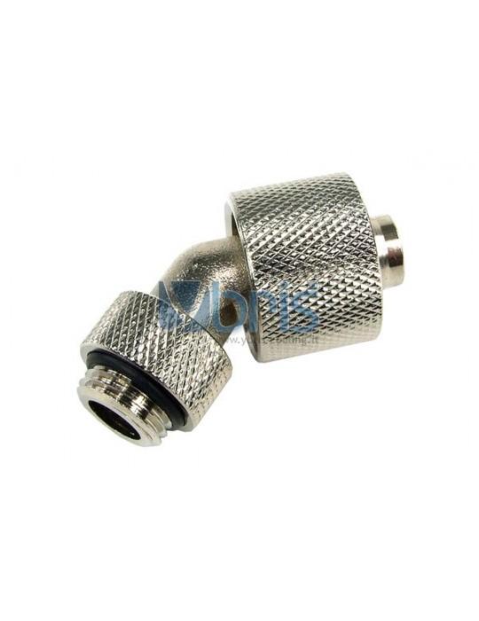 Raccordo Compressione 1/4G  45° tubo 10/16mm  silver nikel Phobya - 1