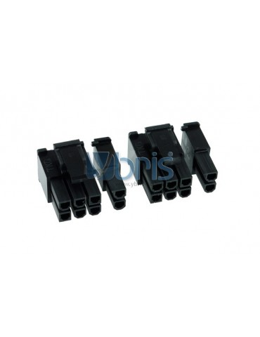 Phobya VGA Power Connector 6+2Pin male incl. 8 Pins - 2 pcs Black
