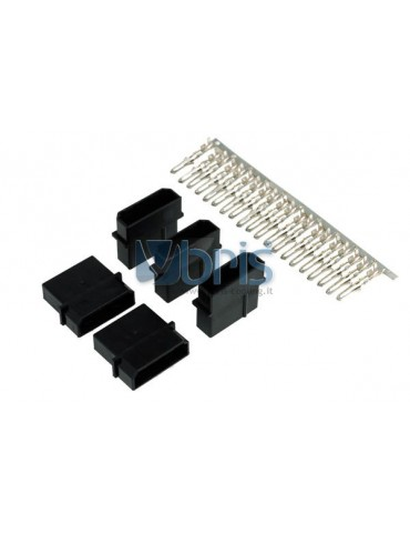 Phobya PSU Power Connector 4Pin Molex female incl. 4 Pins - 5 pcs Black