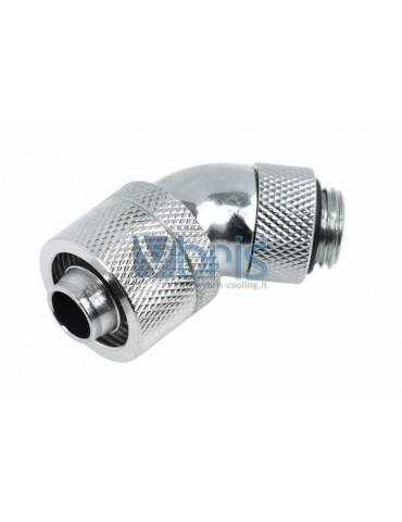 Alphacool raccordo compressione 45° ruotabile G1/4 tubo 10/16mm cromo