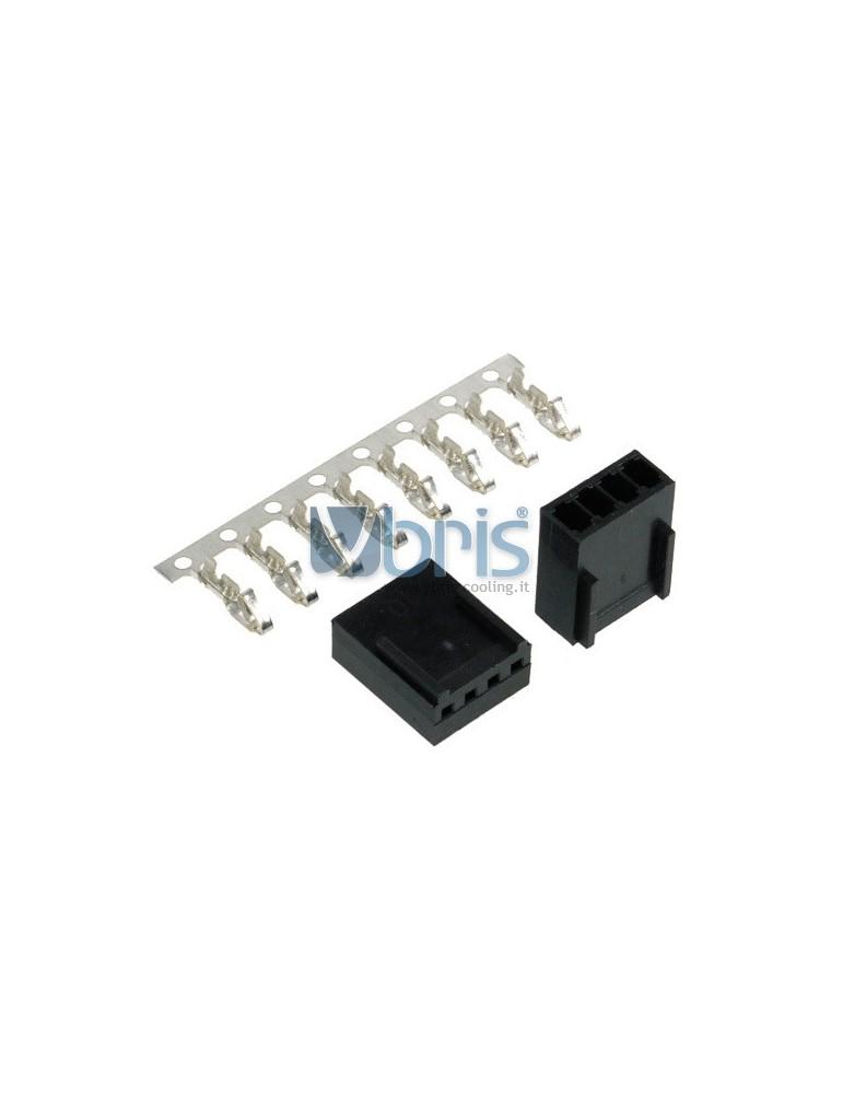 Phobya Fan Power Connector 4Pin PWM female Incl. 4 Pins - 2 pcs Black