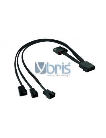 Phobya Y-adaptor 4Pin Molex to 2x 4Pin PWM and 3Pin 30cm - black