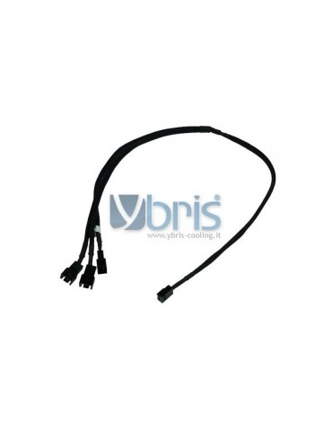 Phobya Y-cable 3Pin Molex to 3x 3Pin Molex 60cm - BLACK