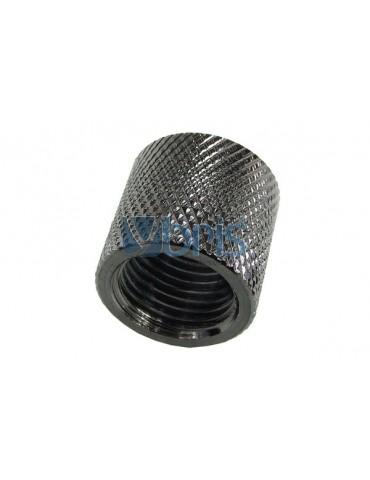 Bussola 2x1/4G F/F Zigrinata Black Nikel L.16mm