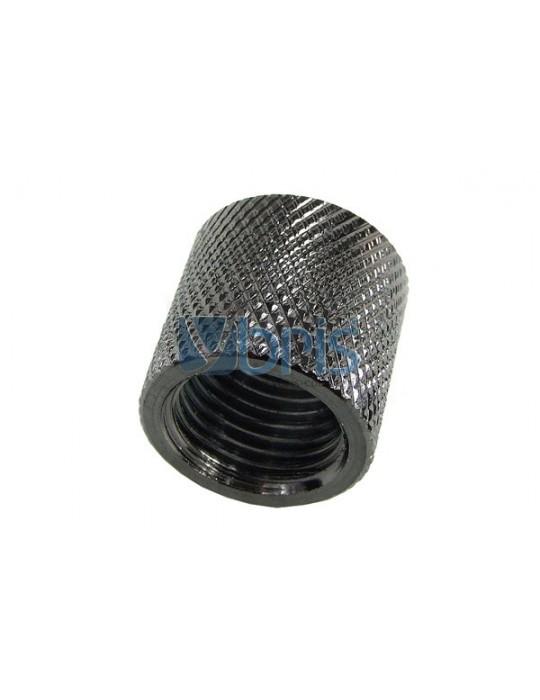 Bussola 2x1/4G F/F Zigrinata Black Nikel L.16mm Phobya - 1