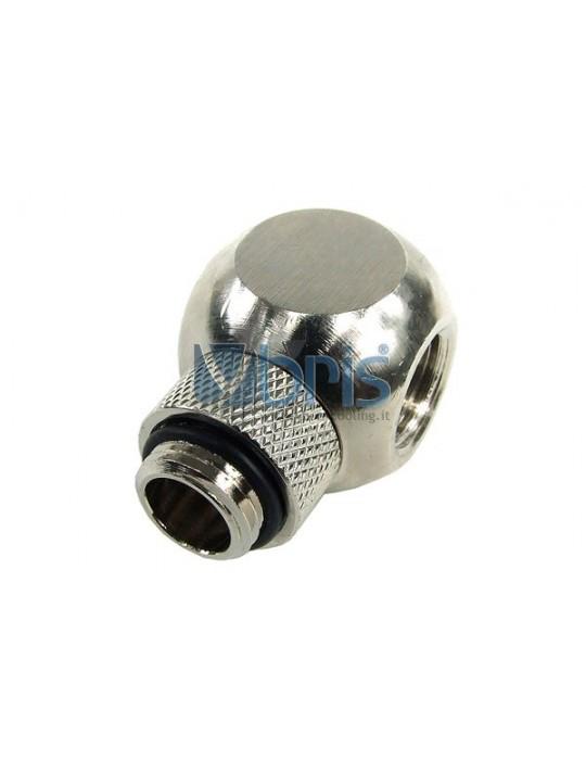 Elbow adaptor revolvable G1/4 to G1/4 inner thread - silver nickel Phobya - 1