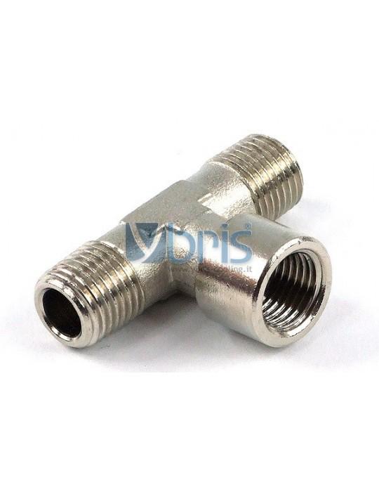 Raccordo a T M/F/M 1/4G Silver Nikel Phobya - 1