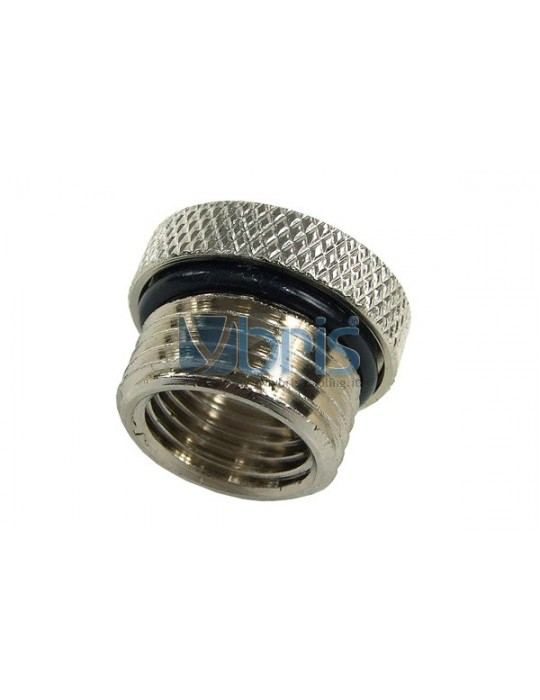 Riduzione M/F da 3/8G a 1/4G zigrinata Silver Nikel Phobya - 1