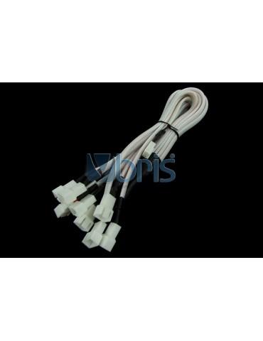 Phobya Y-Cable 3Pin Molex to 9x 3Pin Molex 60cm - UV White