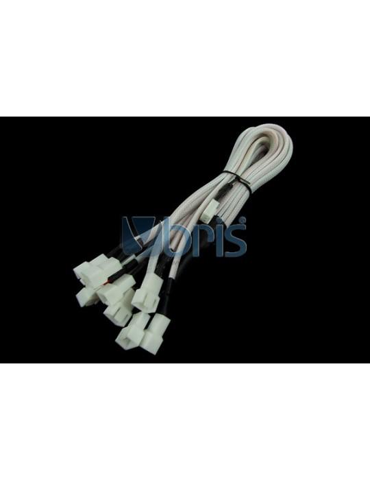 Phobya Y-Cable 3Pin Molex to 9x 3Pin Molex 60cm - UV White Phobya - 1