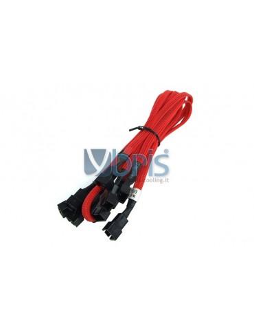 Phobya Y-Cable 3Pin Molex to 9x 3Pin Molex 60cm - UV red