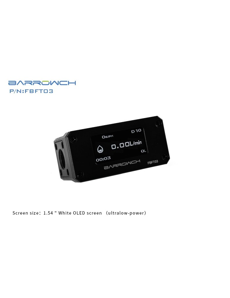 BARROWCH Flussimetro con Display OLED Nero FBFT03