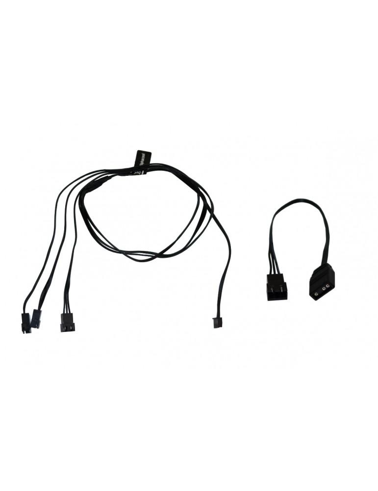Alphacool Splitter D-RGB 3 x 3 pin JST male connector 60cm - black