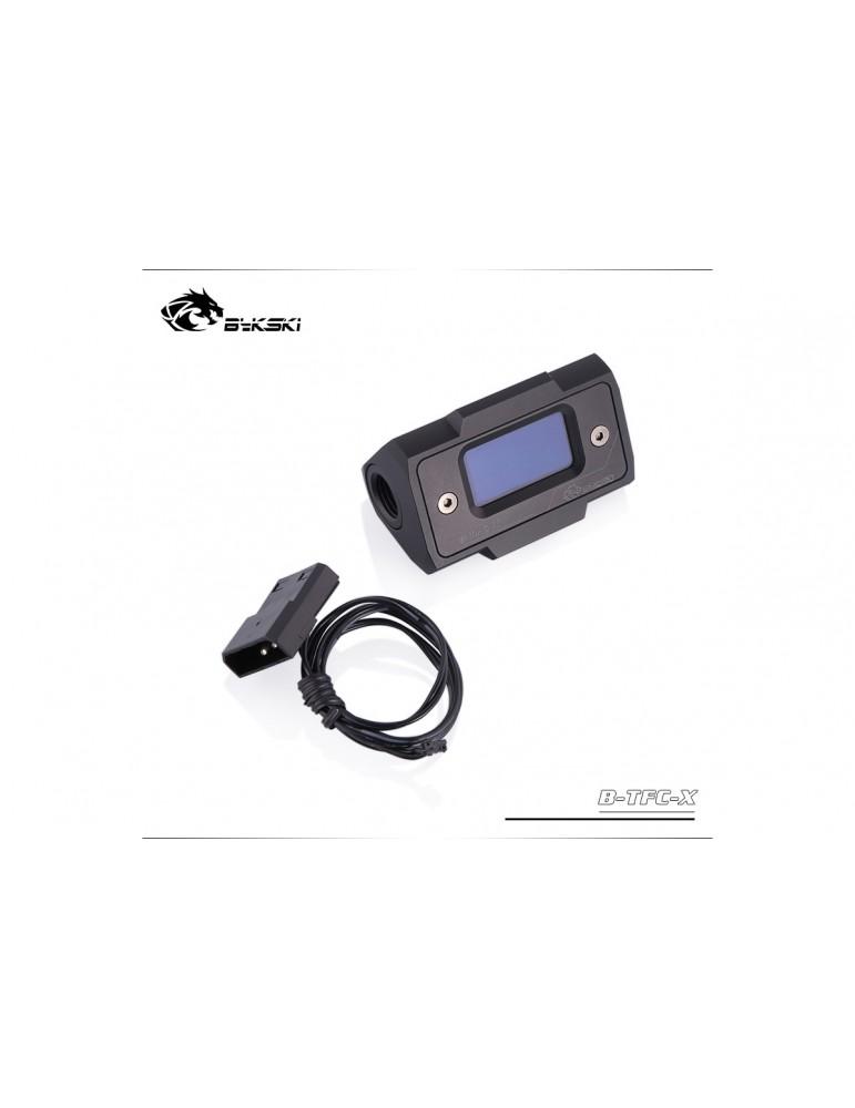 Bykski B-TFC-X Flussimetro digitale con schermo LCD - Alluminio Anodizzato Black