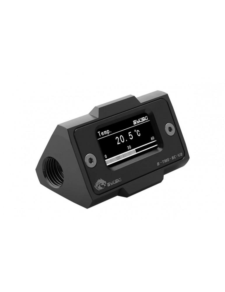 Bykski B-TME-SC-V2-BK Sensore di Temperatura digitale con schermo LCD - Alluminio Anodizzato Black