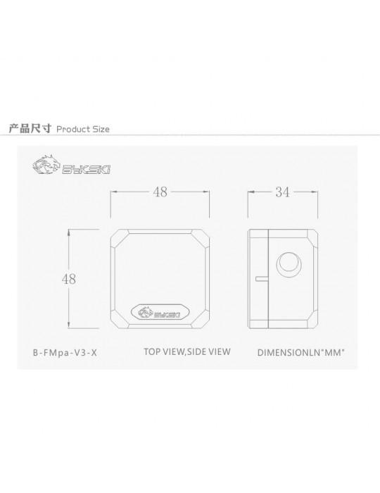 Bykski Flussimetro Visuale - 3 x 1/4G B-FMPA-V3-X - transparente - D-RGB Bykski - 7