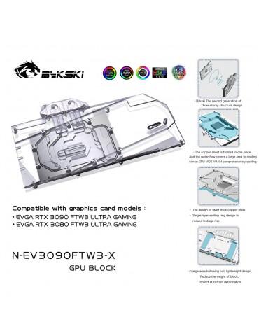 Bykski Waterblock GPU EVGA FTW3 3090 / 3080 (incl. Backplate) N-EV3090FTW3-X