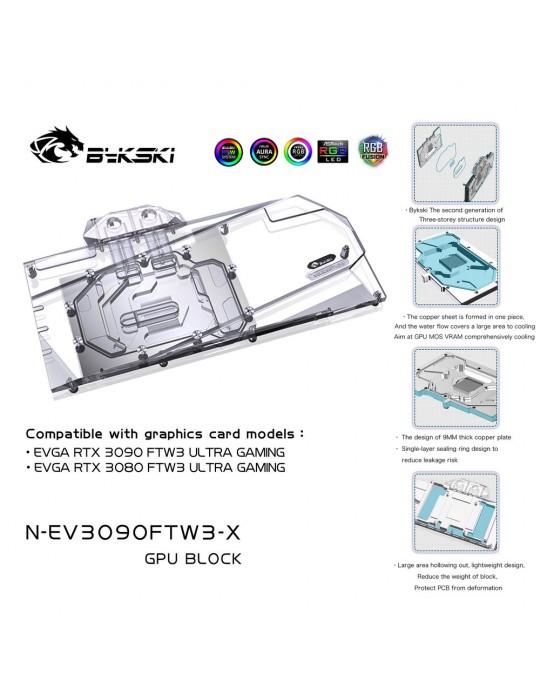 Bykski Waterblock GPU EVGA FTW3 3090 / 3080 (incl. Backplate) N-EV3090FTW3-X Bykski - 1