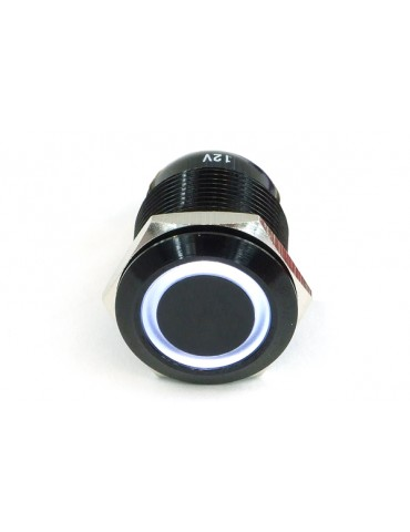 Phobya Bottone di accensione 19mm alu black, white ring - 6pin