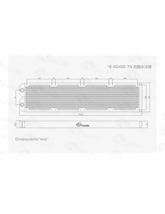 Bykski 480mm Radiatore slim (122x515.5x29mm) Copper - B-RD480-TN Bykski - 5