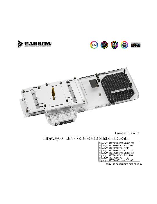 Barrow WaterBlock RGB GPU Gigabyte 3090/3080 Eagle/Vision/Gaming OC Gaming BS-GIG3090-PA BARROW - 2