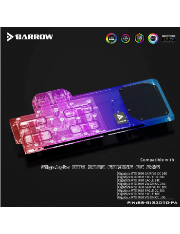 Barrow WaterBlock RGB GPU Gigabyte 3090/3080 Eagle/Vision/Gaming OC Gaming BS-GIG3090-PA