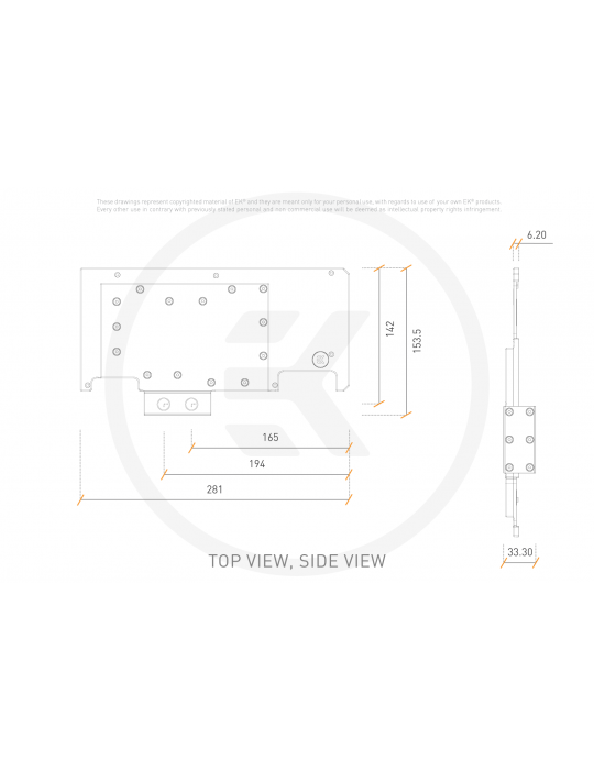 EK-Quantum Vector Strix RTX 3080/3090 Active Backplate - Acetal EKWB - 3