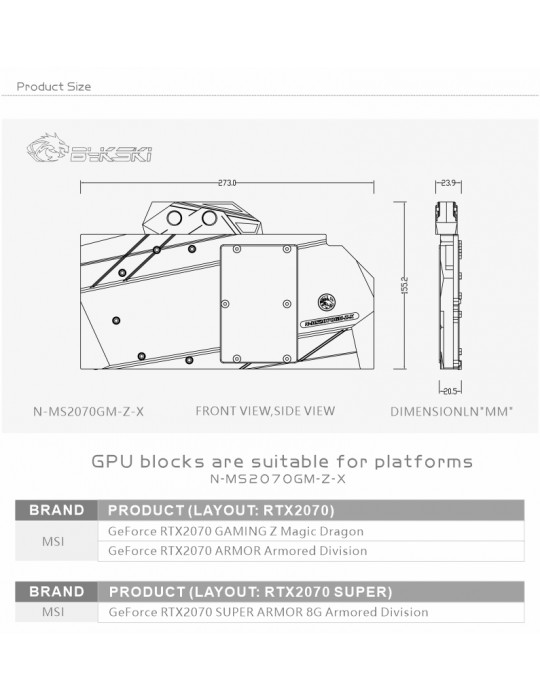 Bykski Waterblock MSI 2070 Gaming Z 8G N-MS2070GM-Z-X Bykski - 7